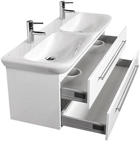 Badezimmer Doppel Waschtisch Mit Unterschrank Weiss Hochglanz Inkl 130cm Keramag Keramik Doppel Waschbecken Amazon De Baumarkt