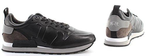 La Martina Zapatos Sneakers Hombre L4010207 Rodi Nero Camoscio Carbone Piel New
