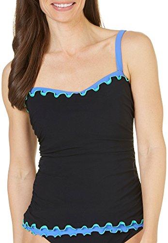 Profile by Gottex Women's Tricolore Underwire Bra Tankini Top (D Cup) Black 34D