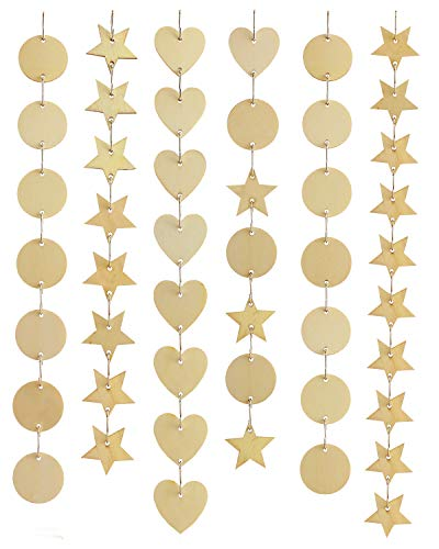 Amersumer 240 Pieces in Total, 1.38 inch Wooden Star/Circles / Heart Tags with Holes and Stainless Steel S Shaped Hook Connectors for Birthday Boards, Valentine, Chore Boards and Crafts.