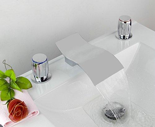 Yanksmart Luxury 3 Pcs Wide Spray Tap 2 Handle Waterfall Bathroom Basin Sink Bathtub Mixer Faucet , Chrome Finish Ys-9140 - 4 Piece Tub Faucet