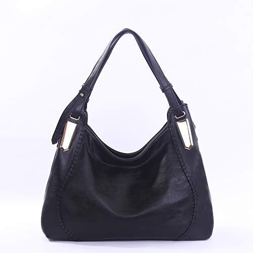 Double Handle Shoulder Bags for Women Large Ladies Satchel Purse | BLACK