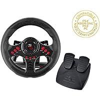 Superdrive - Volante de carreras SV400 con pedales y paletas de cambio para PS4 - Xbox One - PC y PS3