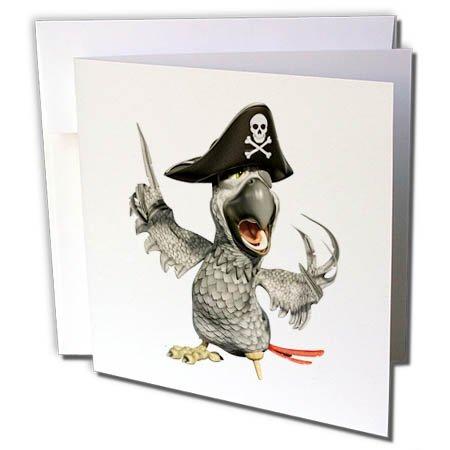3dRose Boehm Graphics Cartoon - African Grey Cartoon Parrot Pirate Captain - 1 Greeting Card with Envelope (gc_282377_5)