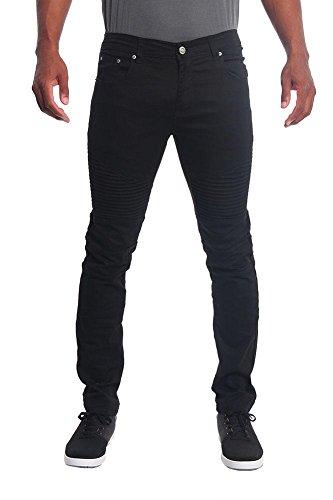 Victorious Mens Biker Twill Skinny Pants DL191 - Black - 32/30 - E1B