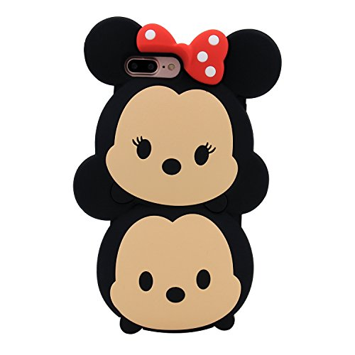Character Case (iPhone 7 Plus Case, MC Fashion Cute 3D American Cartoon Characters Minnie and Mickey Mouse Silicone Phone Case for Apple iPhone 7 Plus (2016) and iPhone 8 Plus (2017) (Minnie and Mickey))