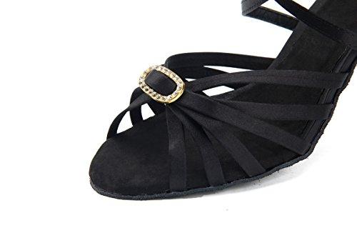 Miyoopark Girls Mujeres Strappy Satin Vintage Dance Zapatos Sandalias De Noche Negro-8cm Tacón