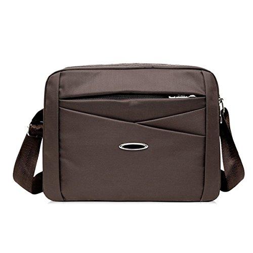 Hombres Messenger Ipad Hombro Totalizador Lateral Ocio Bolsa Negro Tela De Nylon,Brown-28cm*7cm*21cm