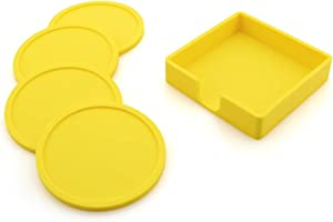 Food Grade Silicone Coaster4-Piece Thick Heat Insulation Mat Set With Stand, 3.94in Tea Coaster