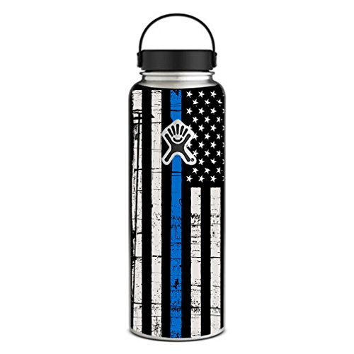 40 Ounce Vinyl (Skin Decal Vinyl Wrap for Hydro Flask 40 oz Wide Mouth Skins Stickers Cover / Thin Blue Line Blue Lives Matter Subdued Distressed American Flag U.S. Police)