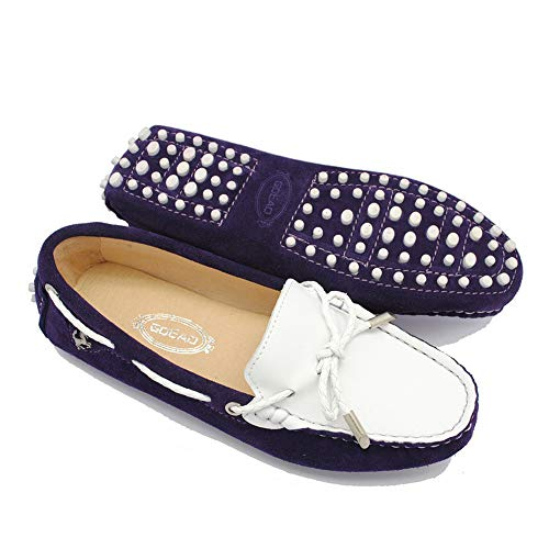 Lucky Exclusive Moccasin Slippers for Women Flat Casual Comfortable Loafer Shoes Womens Moccasin Slippers Spring Moccasins Shoes Purple-White ()