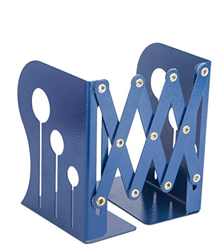 Bookends Book Organizer,KIXIGO Creative Stretchable Bookend Nonskid Library School Office Home Study Metal Bookend Book Shelf gift ideal Medium-sized(Blue) by KIXIGO