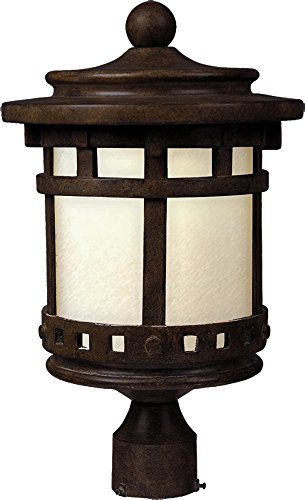 (Maxim 85036MOSE Santa Barbara EE 1-Light Outdoor Pole/Post Lantern, Sienna Finish, Mocha Glass, GU24 Fluorescent Fluorescent Bulb , 60W Max., Damp Safety Rating, Standard Dimmable, Glass Shade Material, 1344 Rated Lumens )
