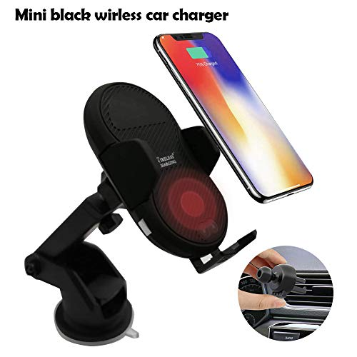 TIMESS Mini Fast Wireless car Charger Infrared Sensor, Auto Mount Air Vent Phone Holder Cradle Dashboard,Compatible for iPhone XR/XS MAX/XS/X/8/8 Plus, Samsung Galaxy S10/S9/S8/Note (Black, Mini)