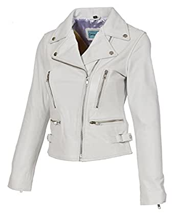 Womens Leather Jackets Motorcycle Bomber Biker White Real Leather Jacket Women (L, White)