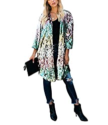 Multi-Color 3/4 Sleeve Sequins Open Front Cardigan Coat