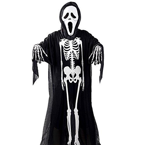 Real Costume Scream (Halloween Costume- Scream Mask+Scary Clothes+Skeleton Gloves-for Boy)