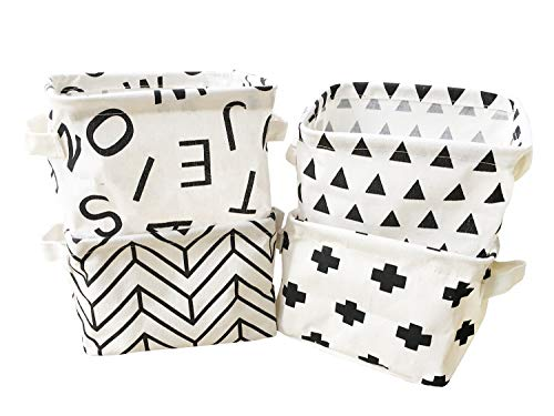 Black White Desktop - Storage Bins Foldable Geometric Storage Basket for Nursery, Kids Toys, Makeup, Small Items, Desktop Organization, Set of 4 (Black&White)