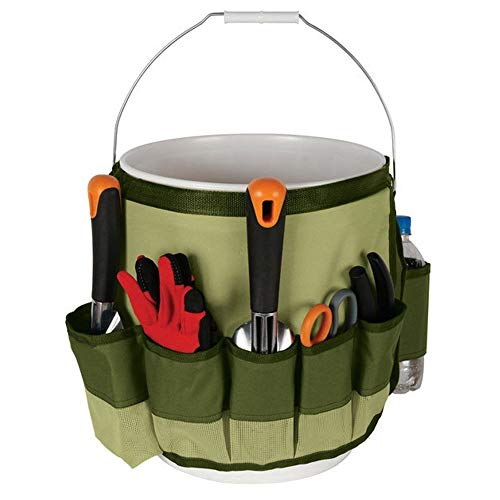 SYOOY Garden Bucket Caddy Bag Yard Tool Carrier Holder Organizer with 10 Pockets for Home Outdoor ()