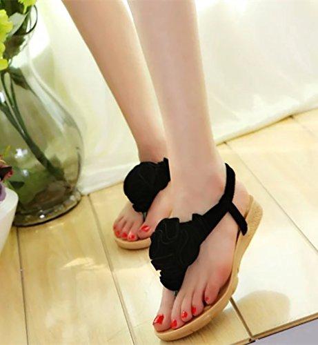YOUJIA Mujer Clip Toe Sandalias Zapatos Sandalias De Playa Sandalias Con La Flor Decorada Negro