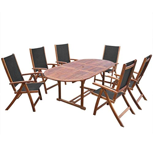 Wuyue and buding Outdoor 7 Pcs Dinning Set Acacia Wood 1 Oval Extendable Table + 6 Folding Chairs for Patio Garden Backyard ()
