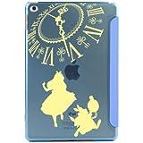 iPad mini4 ケース スマートカバー 一体型 薄型 シェルケースアリス×ラビット (A) Music イエロー [ブルー] オートスリープ機能 スタンド仕様 apple ipad mini 4 アイパッド アップル