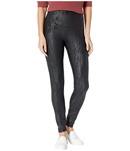 Yummie Women's Signature Waistband Faux Suede Reptile Legging, black, - Snakeskin Pants Faux