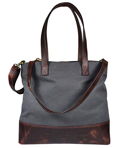- Full Grain Leather & Canvas Cross Body Tote Bag For Women