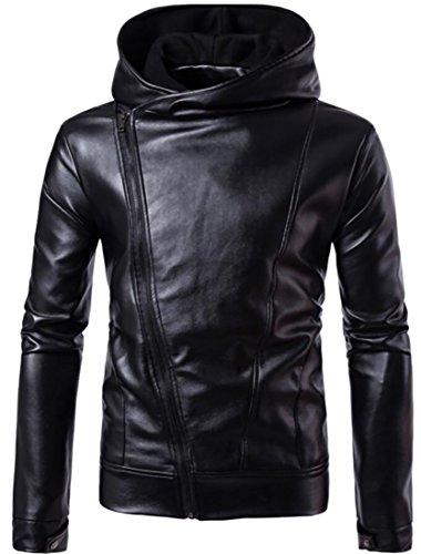 XTX Men's Oblique Zipper Hoodie Faux Leather Motorcycle Jackets Black Medium