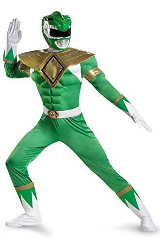 Disguise Sabans Mighty Morphin Power Rangers Green Ranger Classic Muscle Mens Adult Costume, Green/White, - White Power Ranger Morphin Mighty Costume