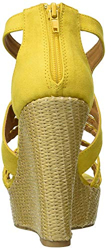 Qupid Women's Wedge Sandal, Yellow Suede Polyurethane, 8 M US -