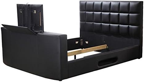 Vente Unique Lit Profusion Avec Systeme Tv Integre 160x200cm Simili Noir Amazon Fr Cuisine Maison
