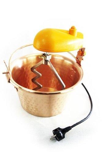 'ARDES' Kupfer Rührschüssel - 28 cm Durchmesser - mit elektrischem Rührwerk - für Polenta, Marmeladen und Süßspeisen