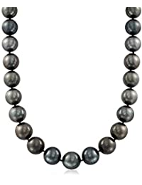 Certified 13-15mm Black Cultured Tahitian Pearl Necklace With Diamonds and 14kt White Gold
