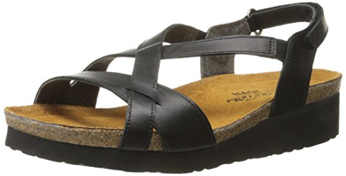 Naot Women's Bernice Wedge Sandal - Black Raven Leather -...
