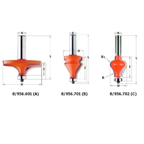 CMT Orange Tools 956, 601, 11-Fraise pour main courante s 12 d avec rodam.hm 63, 5 x 19 956.601.11