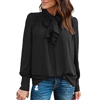 Dayupo Female Chiffon Blouse, New Fashion Bowknot Solid Chiffon T-Shirt Casual Long Sleeve T-Shirt Blouse