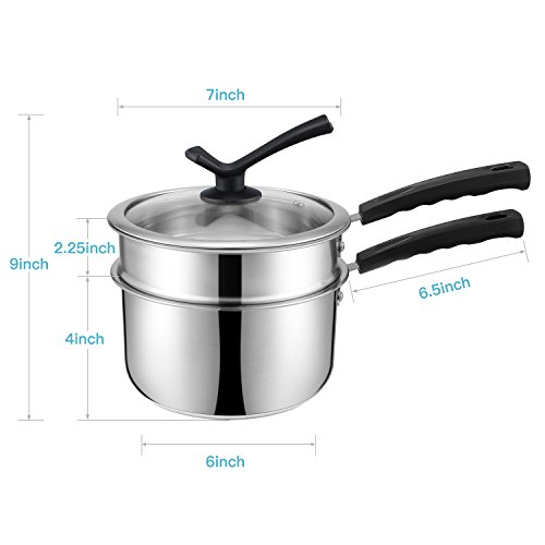 Double Boiler&Classic Stainless Steel Non-Stick Saucepan,Melting Pot for Butter,Chocolate,Cheese,Caramel and Bonus with Tempered Glass Lid by JKsmart (Image #1)