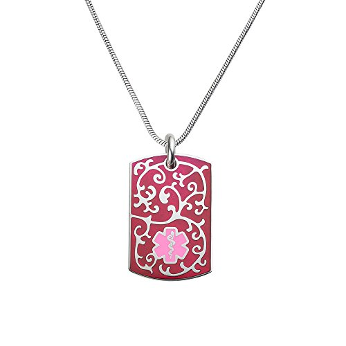 (Divoti Deep Custom Laser Engraved 316L Filigree Medical Alert Necklace - Medical Alert ID Dog Tags Pendant -Stainless Snake Chain (24/28 in)-Pink/TP Magenta)