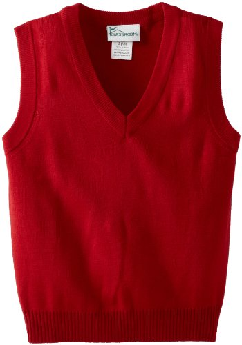 CLASSROOM Big Boys' Uniform Sweater Vest, Red, Large -