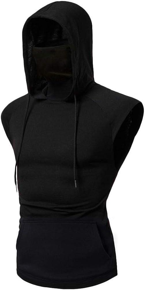HOSD Summer New Mens Personality Ninja Suit Hooded Vest Masked Mens Vest