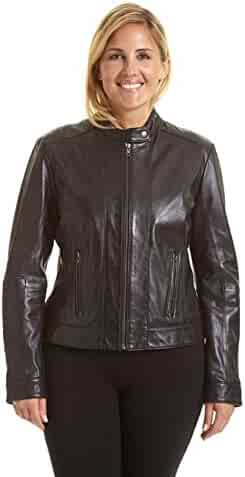 ad403f55b43 Excelled Leather Women s Plus Size Leather Moto Collar Scuba