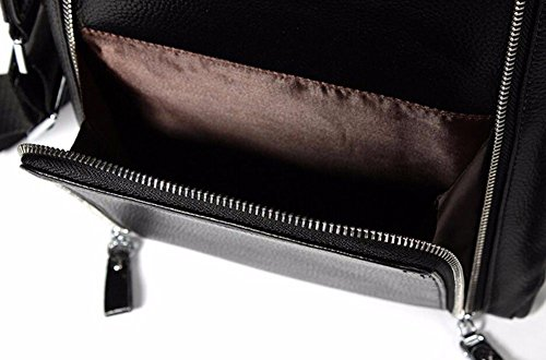 bolsa de de pulgadas Male Surnoy Black tipo de de cuero hombro 12 Bag Casual telescópica asa Los vertical cremallera hombres wxwzqIS0R