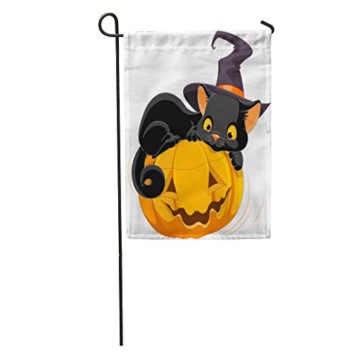 Semtomn Garden Flag Cat of Halloween Kitten are Lying Happily on Pumpkin Animal Home Yard House Decor Barnner Outdoor Stand 28x40 Inches Flag