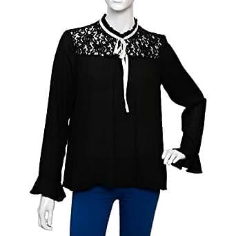 Parkhande Black Polyester High Neck Blouse For Women