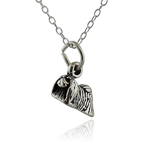 Sterling Silver Tiny 3-D Pekingese Dog Charm Necklace, 18