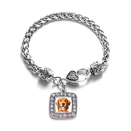 Inspired Silver - The Golden Retriever Braided Bracelet for Women - Silver Square Charm Bracelet with Cubic Zirconia Jewelry ()