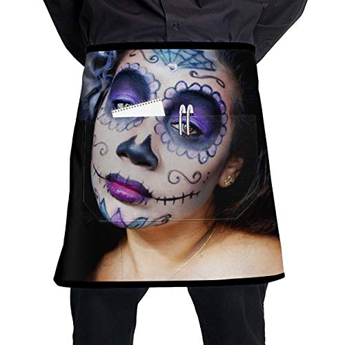 NBteach Sugar Skull Halloween Makeup Girls Utility Activity Toolbelt Work Best Mini Prime Supply Customize Half Waist Cooking Apron with Pockets for Kids Teacher -