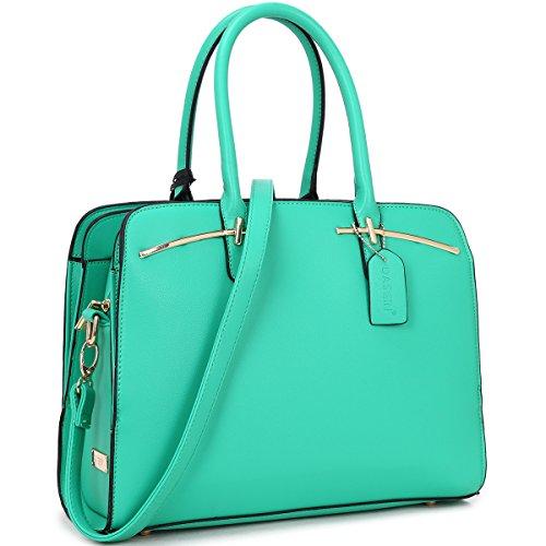 MKY Multi Pocket Purse Satchel Large leather Handbag Triple Compartment w/ Shoulder Strap (Briefcase Purse)