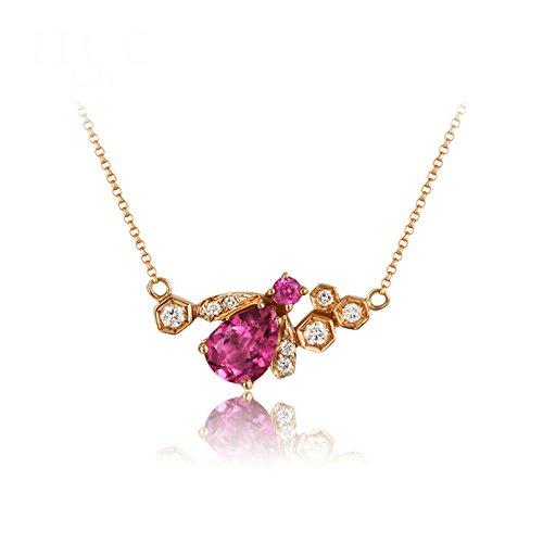 Daesar 18K Gold Necklace For Women Cubic Zirconia Bee Pendant Necklace Rose Gold Chain Length: 40CM by Daesar